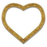 Frame in the shape of heart gold color with shadow Royalty Free Stock Photo