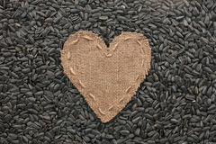 Frame in the shape of heart made of burlap with sunflower seeds Royalty Free Stock Photos