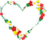 Frame in shape of heart made of flowers Stock Image