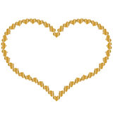 Frame in the shape of heart of small gold hearts 2 Stock Images