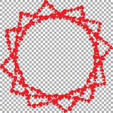 Frame in shape of star with twelve rays made of hearts. Frame in shape of star with twelve rays made of different sized cartoon hearts isolated on transparent Royalty Free Stock Photo