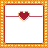 Frame shaped from yellow heart on orange background Stock Photography
