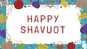 Frame with Shavuot holiday flat design icons with text in englis. H `Happy Shavuot`. Template with space for text, isolated on background Stock Photo