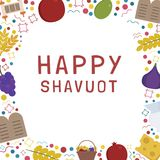 Frame with Shavuot holiday flat design icons with text in englis. H `Happy Shavuot`. Template with space for text, isolated on background Stock Photos