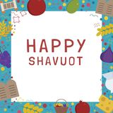 Frame with Shavuot holiday flat design icons with text in englis. H `Happy Shavuot`. Template with space for text, isolated on background Stock Image