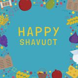 Frame with Shavuot holiday flat design icons with text in englis. H `Happy Shavuot`. Template with space for text, isolated on background Royalty Free Stock Images
