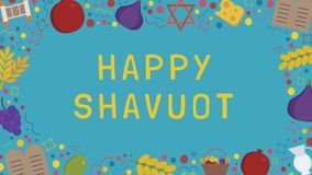 Frame with Shavuot holiday flat design icons with text in englis. H `Happy Shavuot`. Template with space for text, isolated on background Royalty Free Stock Photography