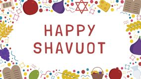 Frame with Shavuot holiday flat design icons with text in englis. H `Happy Shavuot`. Template with space for text, isolated on background Royalty Free Stock Image