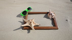 Frame with shell starfish sunglasses. HD with motorized slider. 1080p. stock video