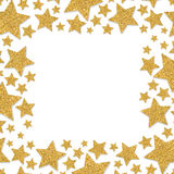 Frame with shimmer stars. Gold sparkle frame of star. Yellow confetti. Frame with shimmer stars. Gold sparkle frame of stars. Yellow confetti. Glitter shining Stock Image