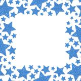 Frame of shiny blue metal stars isolated on white background. Glitter powder border Stock Photo