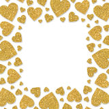 Frame of shiny gold metal hearts. Glitter powder border for St.Valentine`s Day Stock Photos
