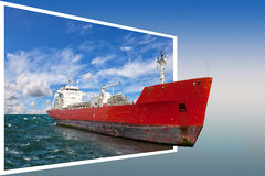 Frame with ship Stock Image