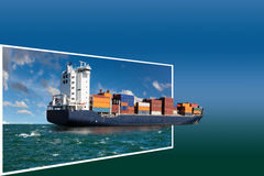 Frame with ship Stock Photography