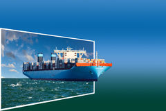 Frame with ship Stock Images