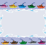 Frame with ships Royalty Free Stock Images