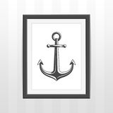 Frame with ships anchor. Nautical anchor in retro black photo frame. Hipster framework with vintage pictures on white wall background. Vector illustration. EPS Stock Illustration