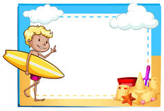 Frame showing a boy at the beach Royalty Free Stock Images