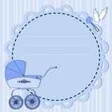 Frame with sidecar. Frame with a stroller in blue for a boy Royalty Free Stock Photography