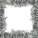 Frame of silver tinsel Stock Photo