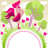 Frame with singing rooster. Rooster singing in a flowery garden - with copyspace for your text Royalty Free Stock Photography
