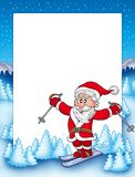 Frame with skiing Santa Claus Stock Image