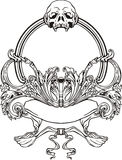 Frame with skull in Art Nouveau style Stock Photo