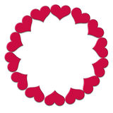 Frame of small red hearts on a white background Stock Photo
