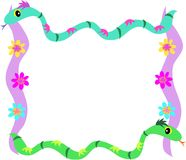 Frame of Snake and Flowers Stock Images