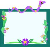 Frame of Snake, Retro Flowers, and Bugs Stock Photos