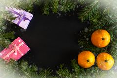 Frame of snow-covered fir branches, orange mandarins, gift boxes with dark copy space in middle stock photography