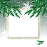Frame on the snowdrift and fir tree branches. Christmas card vector illustration Stock Photos