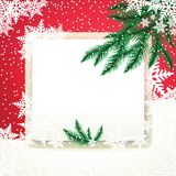 Frame on the snowdrift and fir tree branches. Christmas card vector illustration Stock Photo