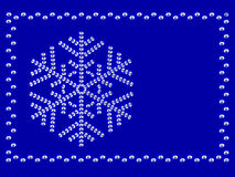 Frame with snowflake. On blue background composed by diamonds Royalty Free Stock Photos