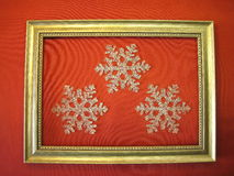 Frame and snowflakes Royalty Free Stock Photography