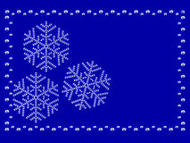Frame with snowflakes. On blue background composed by diamonds Stock Photos