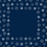 Frame of snowflakes. Christmas background. To design posters, postcards, greeting, invitation for the new year. Vector illustration Stock Image