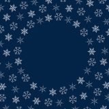 Frame of snowflakes. Christmas background. To design posters, postcards, greeting, invitation for the new year. Vector illustration Stock Photos