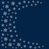 Frame of snowflakes. Christmas background. To design posters, postcards, greeting, invitation for the new year. Vector illustration Stock Photo