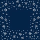 Frame of snowflakes. Christmas background. To design posters, postcards, greeting, invitation for the new year. Vector illustration Stock Photography