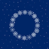 Frame of snowflakes, christmas background, vector illustration. Frame of snowflakes on blue background, christmas background, vector illustration Stock Photography