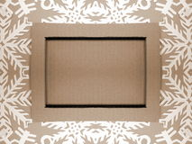 Frame and snowflakes. Paper cutting stock image