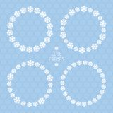 Frame of snowflakes pattern. Vector snow Stock Image