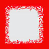 Frame of snowflakes in red and white Stock Photos