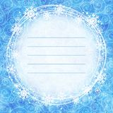 Frame of snowflakes on a watercolor background. Royalty Free Stock Images