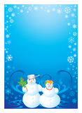 Frame snowman. Happy family of snowmans in expectation of a miracle. Soon new year Royalty Free Stock Photography