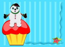 Frame of Snowman on a Cupcake Royalty Free Stock Images