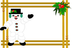 Frame of Snowman and Holly Stock Images