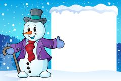 Frame with snowman topic 2 Royalty Free Stock Photos