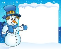 Frame with snowman topic 3 Royalty Free Stock Photos
